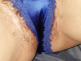 My Wife'said  Soaking Wet Black Bush Blue Satin Panties