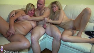 Young girl fucking in threesome with granny