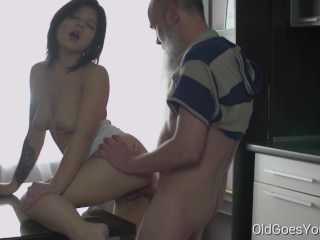 Sexy brunette Gerra and her man