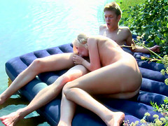 Divine blonde chick penetrated hard under the tropical sun