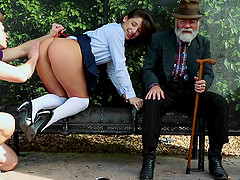 True public sex on a bench with a beauty in a short skirt