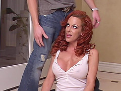 Slutty redheaded milf fucked in the cunt and fingered in the ass