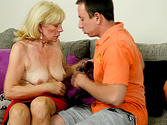 Granny pussy is nice and wet for his dick to pound