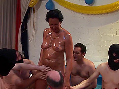 Horny german oiled mom ready for her first gangbang bukkake fuck orgy