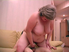 Doting bbw lets out a groan as her juicy cunt engulfs a boner