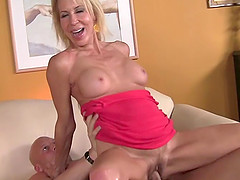 Mature blonde bitch gets her shaven cunt plowed deep