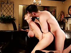 Young stud bangs sexy busty MILF in doggy position tough