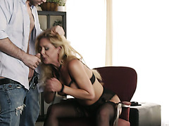 Yummy blond haired housewife Cherie De Ville gives steamy DT to her lover