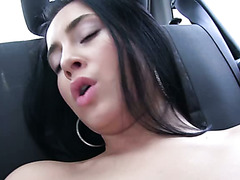 Buxom black haired cutie Anna Rose gets fucked in mish style after steamy deep throat