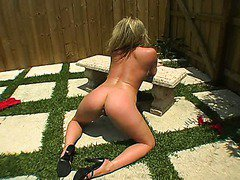 Raunchy blond Harmony gets her gaped asshole slammed on the ground
