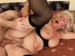 82 years old bitch Marinoka asked young stud to please her hairy pussy in a proper manner