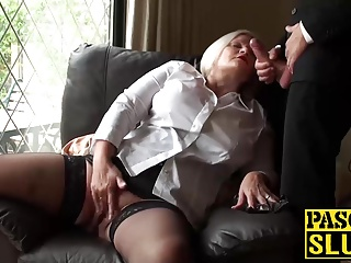Mature blonde lady Lacey getting ready for Pascals cock