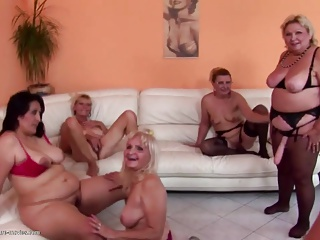 grannies;granny and moms at crazy pissing gangbang