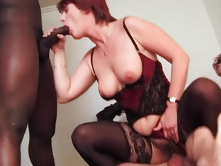 mature in stockings get BBC in the ass