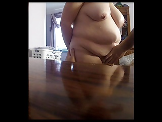 feeling her ass, hairy pussy,tits as she jerks me off