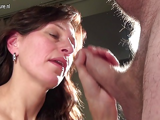 Mature mother takes hard cock