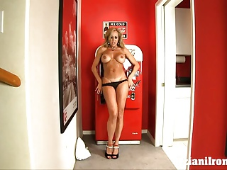 Sexy ripped muscle babe plays with her big pussy lips