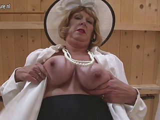 British granny playing with her tits and pussy