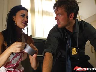 Policeman helps out Jasmine Jae cover up her mess