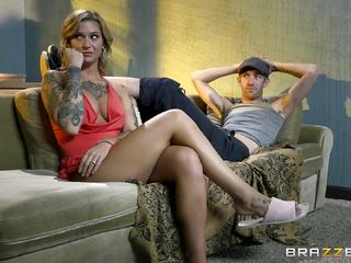 Tattooed Kleio Valentien taking each inch of a huge cock