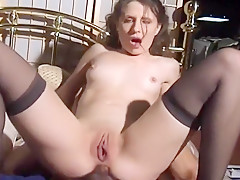 Horny Bitch Fucked In All Three Holes