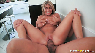 Blonde with giant jugs gives pussy