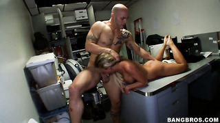 Aubrey Addams has fun in the back room