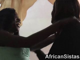 African sistas Megan and Veronica are nude and ready to make each other cum