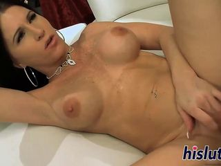 Big-titted cougar pleasures a long meat pole