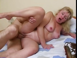 Mom with small tits, flabby ass & guy