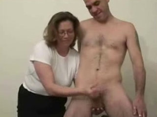 My kinky mature wife loves to jerk younger men - Handjob porn