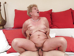 Redhead with huge knockers just loves to blow