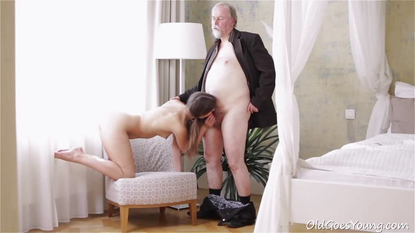 Kira was feeling horny enough to suck old dude's cock! | PornTube ®