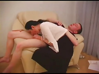 Skiny Russian Mature seduces young waiter