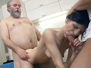 Youthful sweetie screwed by old paramour