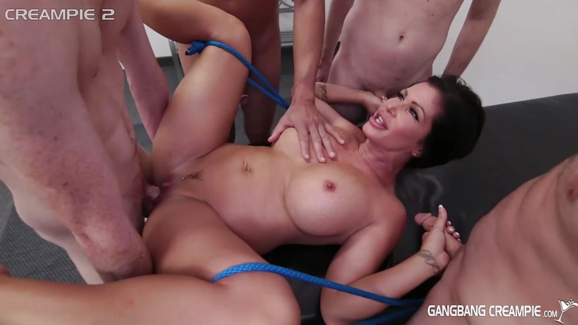 Sexy Milf gets gangbanged by the cocksmen