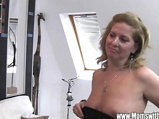 Cougar Fucks After She Catches Her Stepson Jerking