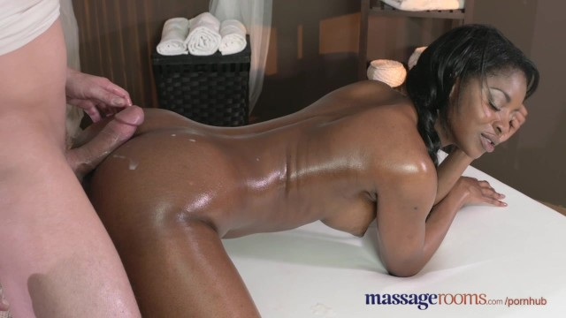Massage Rooms Dark skinned goddess squirts from hardcore fucking
