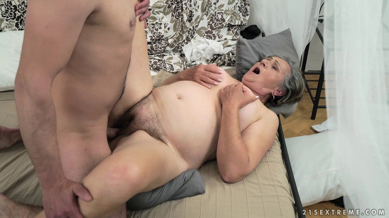 Cock-hungry granny Kata making her young stud Rob feel satisfied