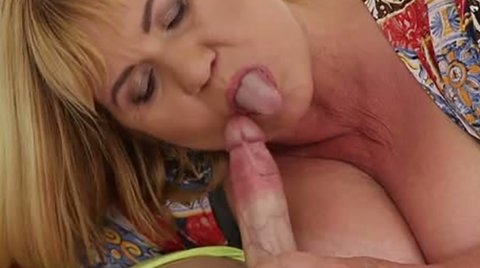 Fat 70 years old slut with droopy jugs Rose blows big cock of young stud greedily