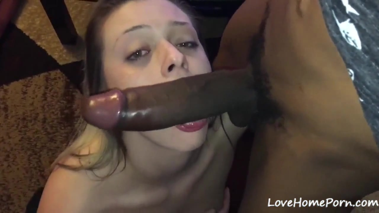 White amateur girlfriend sucking big black boyfriends dick and gets filmed.