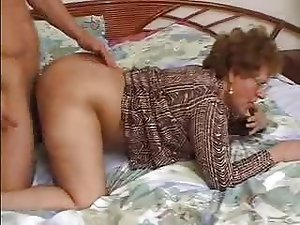 Lustful Brunette Granny Gets Pounded and a Thick Facial