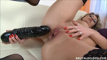 Tattood blonde Laura cumming from a really thick dildo - 8 min HD