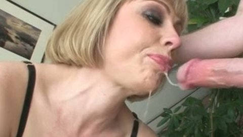 Blonde slut is gagging in provocative porn video