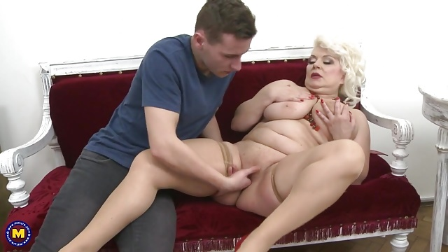 Mature mom fucked and cum covered by young son