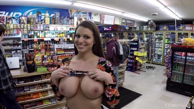 Brooklyn flashing her massive tits in store