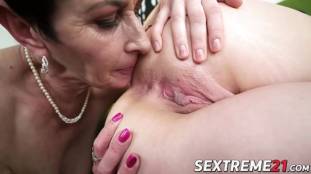 Dirty Lucette licks her granmas pussy