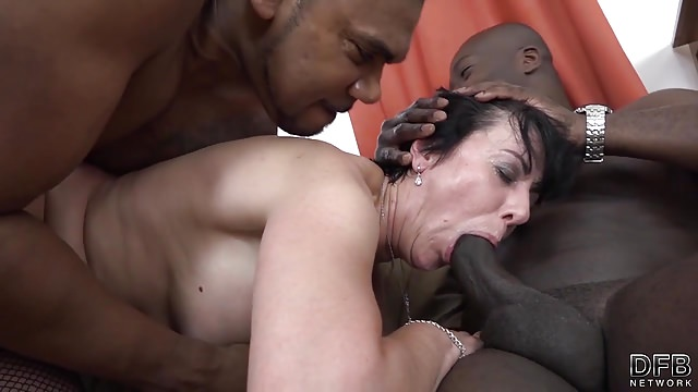 Granny threesomes with 2 black men shoving cocks in mouth
