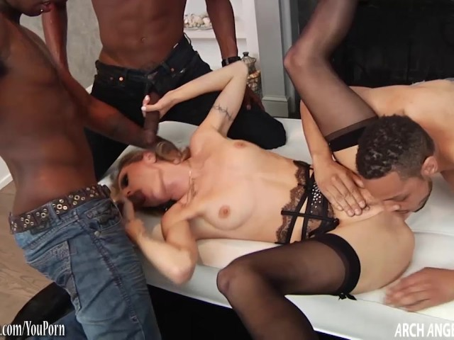 Blonde slut fucked in the ass by 3 black guys