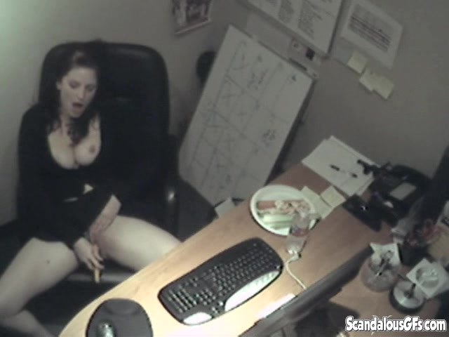 Lusty brunette hottie touching her trembling pussy at her office